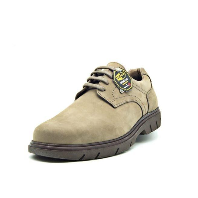 Zapatos Bay, casual con cordones hidrofugado modelo C510, color khaki-gris perspectiva.
