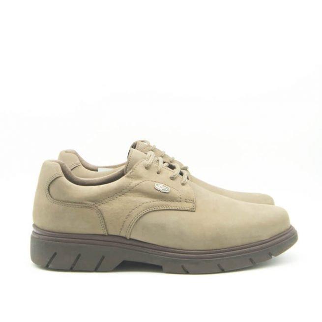 Zapatos Bay, casual con cordones hidrofugado modelo C510, color khaki-gris lateral.